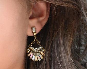 Art Deco Shell Earrings, Sea Shells, Beach Earrings, Boho Earrings, Ocean Earrings, Ocean Jewelry, Gypsy, Shell Jewelry, 1920s Earring E1267