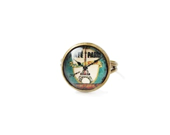 Time from Paris small adjustable ring, 12mm glass dome photo cabochon, bezel ring, statement ring, French theme, clock, Eiffel Tower