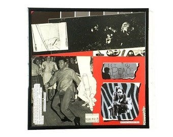 Black white red, Original Vinyl Record Cover Collage Art, Mixed Media Framed Wall Art, Vintage Music Album Home Decor, Peace and Freedom,