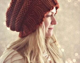 Slouchy Beanie, Burn Orange, Knit Hat, Knit Beanie, Fall Fashion, Slouchy Hat,