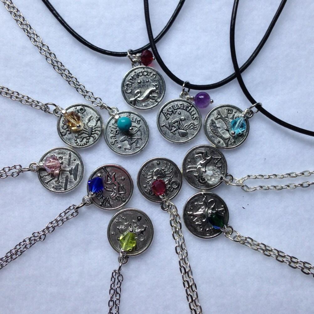 Zodiac Pendants With Corresponding Crystal Or Genuine Gemstone