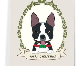 Custom Dog Christmas Card, Dog Holiday Card, Boston Terrier Card, Printable Christmas Card.