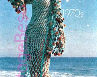 Sea Goddess Vixen Beach Dress CoverUp Crochet Pattern - INSTANT DOWNlOAD - PdF Pattern - 1970s Ladies Dress Vintage Crochet Pattern