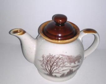 Vintage 1980 Enesco Teapot Sky Plains Design  22-24 Oz