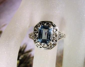 1950s, Blue Topaz Ring, Swiss Blue Topaz Ring, Sterling Silver Ring, Emerald Cut Topaz Ring, Art Deco Ring, Genuine Topaz Ring – Size 7.25