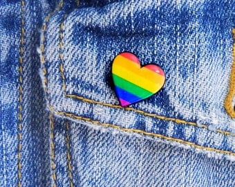 Rainbow Heart pin Gay pride brooch Rainbow gay pride Pin LGBT Rainbow Flag Heart Pin Gift Love Pin