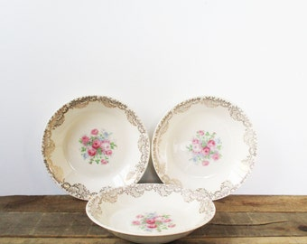 SALE *** Three Shabby Chic Floral Fine China Bowls. Perfect for a Tea Party, Wedding, or Mismatched China Set. Gold trim with flowers.