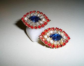 Patriotic Vintage Ladies 1950's Rhinestone Clip Earrings July 4th Red White Blue