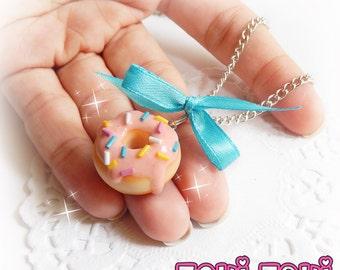 Pink Donut Necklace, Kawaii Food Jewelry, Miniature Food Necklace, Polymer Clay Donut Charm, Kawaii Jewelry, Mini Food Charm, Clay Necklace