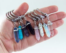 Crystal pendant keychains, crystal keychain, crystal key chain, crystal keyring, crystal key ring, crystal pendants, healing crystals, gifts