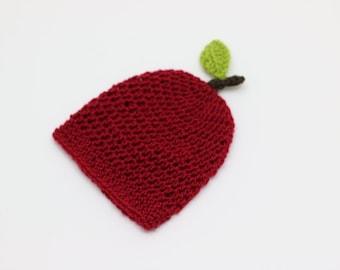 Newborn Hat, Baby Apple Hat, Crochet Apple Hat, Baby Hat, Infant Hat, 0 - 3 Months Hat, Baby Photo Prop, Baby Shower Gift, Red