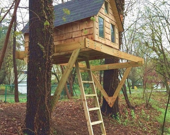 alpino treehouse diy plans for one or two trees - Tree House Plans