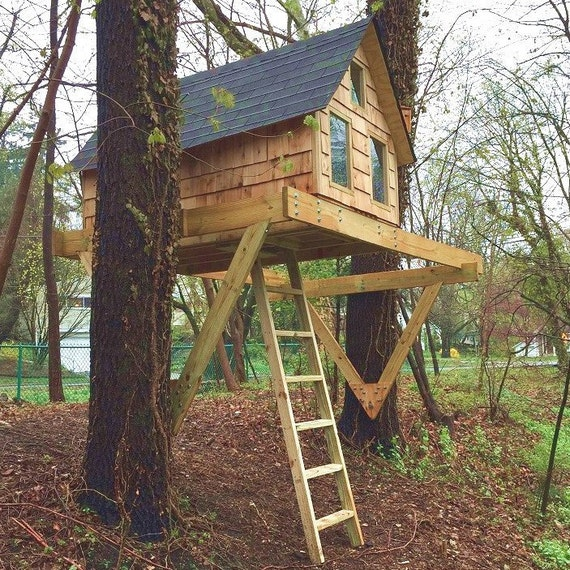 Alpino treehouse diy plans for one or two trees for Easy to build tree houses