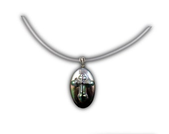 Black Pearl Cross Necklace