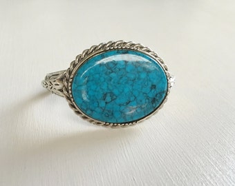 Turquoise Bracelet, Turquoise Cuff Bracelet, Turquoise Cuff, Large Turquoise Cuff Bracelet, Blue Turquoise Bracelet, Southwestern Turquoise