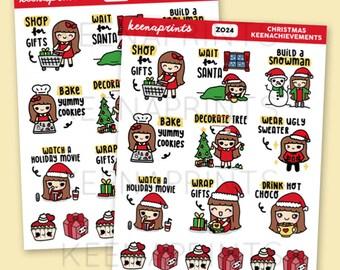 Z024   CHRISTMAS KEENACHIEVEMENTS Stickers - Keenachi Christmas Stickers, Holiday stickers, Xmas stickers, bucket list stickers, to do