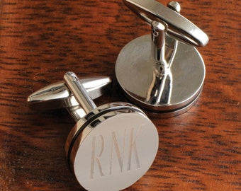 Engraved Cufflinks - Personalized Pin Stripe Cuff Links
