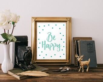 Play room wall art, Children decorating ideas, Nursery decor, Nursery wall art boy, Be happy, Inspirational print, Typography print BD-811