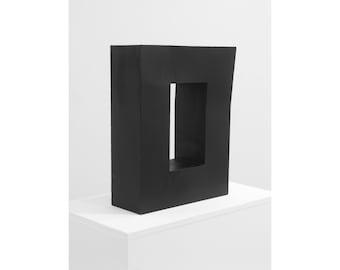 "Modern minimalist sculpture ""Block with Distorted Angle (Dog-Eared Book)"", welded metal, abstract art, geometric sculpture, black, book art"
