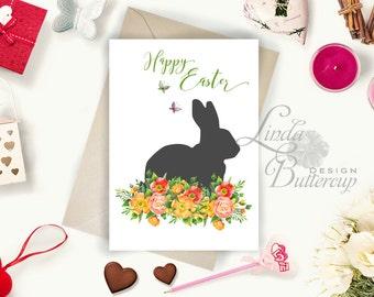 Spring Printable, Easter decor, Easter card, Easter Printable, Spring decor, Bunny art, Rabbit decor, Easter wall art, Rabbit, Spring Print