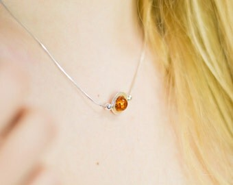 Amber necklace - baltic amber - amber pendant necklace - Delicate amber necklace - amber sterling silver chain necklace