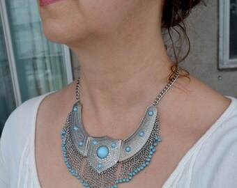 Bib Necklace, Silver Necklace, Silver Bib Necklace, Blue Necklace, Tribal Necklace, Ethnic, Boho (642)