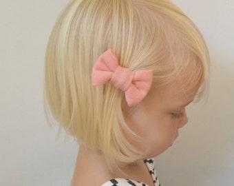 Pink Baby Hair Bow - Peachy-Pink Hair Clip - Hair Clips