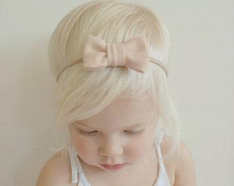 Newborn Headband - Light Pink Mini Bow Headband - Baby Headband