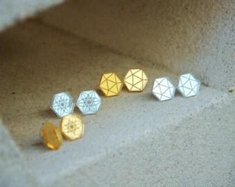 Futuristic Stud Earrings - Geometric Polygon Mirror Studs