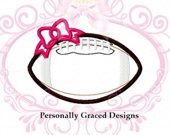 Instant Download Football with Bow Applique Machine Embroidery Design 4 Sizes 3in, 4in, 5in, 6in, 4x4, 5x7, 6x10, Girl Football Embroidery