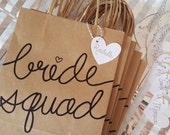 Bride Squad Bachelorette Party Kraft Gift Bags with Handles, Sturdy Bottom, Hand-Lettered, different font color choices