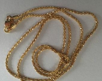 """Estate, 14K Yellow Gold Vintage Crisscross Sparkle Necklace Chain 20"""""""