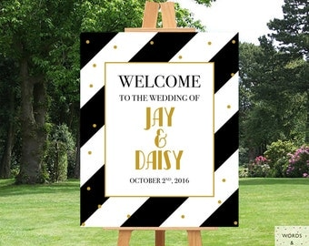 Black And Gold, Wedding Reception Decor, Wedding Signs Welcome, Wedding Signs Printable, Floral, Custom Wedding Signs, Gatsby Wedding, Print