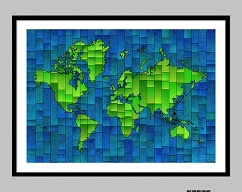 World Map Glasa - a map of the world art print by elevencorners - travel map - map wall decor - map poster - several color options