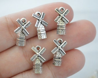 3 Pcs Windmill Charms Antique Silver Tone 3D 17x10mm - YD0830