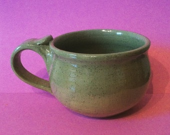 Handmade ceramic mug / teacup green speckled glaze heart valentines gift