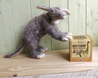 Aardvark, Needle felted Aardvark, wool animal,made to order