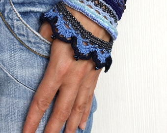Boho Chic, Gift for Her, Beaded Bracelet, Blue Cuff, Summer Fashion, Gift Jewelry, Fiber Art, Crochet Lace Bracelet, Crochet Cuff