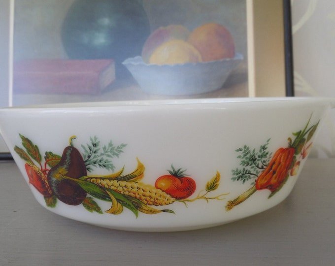 "FREE SHIPPING Pyrex Dish Opalware Tuscany Market Garden Vegetables Casserole 1.75 pints 900ml 8.5"" x 2.25"""