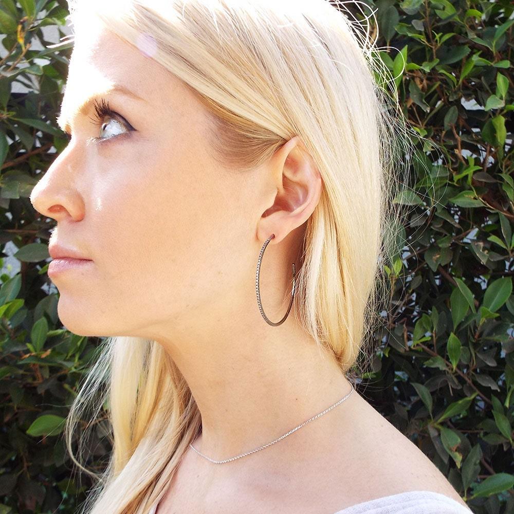 Thin Black diamond hoop earrings 1 mm micro pave cz white or black CZ diamond black gold plated ultra thin hoop earrings