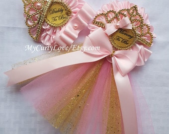 Pink and Gold Princess Baby Shower Corsage/Pink and Gold Tiara Baby Shower Pin/Princess Baby Shower Pins/Pink and Gold Baby Shower Corsages