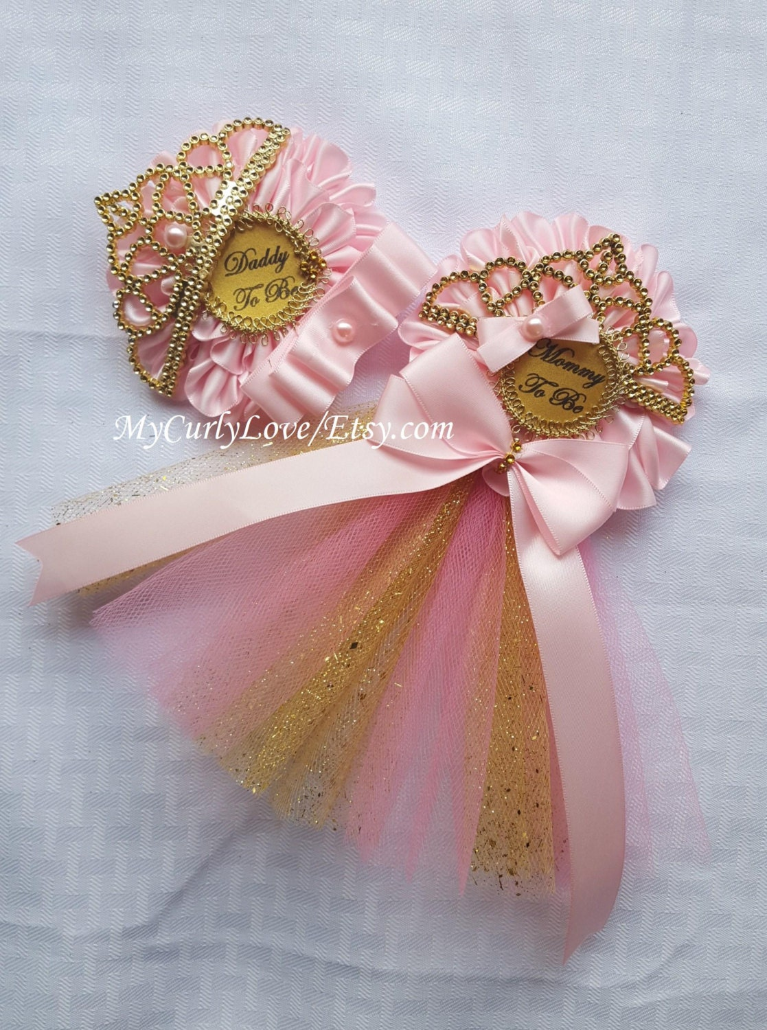 Pink and Gold Princess Baby Shower Corsage/Pink and Gold Tiara