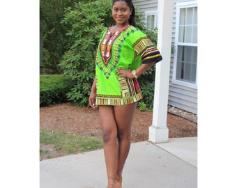 Unisex Light Green Dashiki Shirti