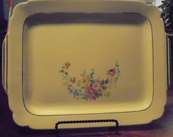 Antique Porcelain Yellow Well Platter With Tabbed Handles