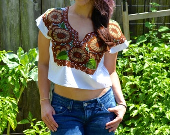 Mexican Blouse // Crop Top // Authentic Mexican Crop Top - V neck