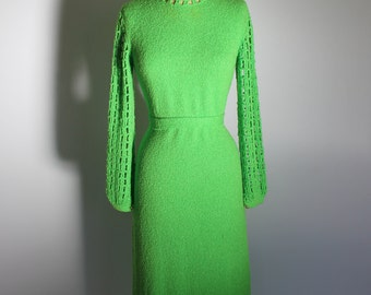 1960s Glowing Green Knit Mod Dress