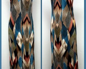 New Classic Geometrical print Long maxi Dress,Turtle Neck Regular Size . S M L