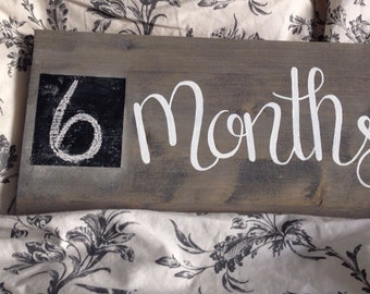 Monthly Baby Chalkboard Sign - Monthly Wood Sign - Chalkboard Baby Sign