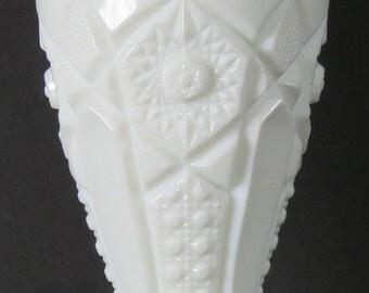 "Vintage  Milk Glass Vase KEMPLE ""Quintec"" 6.5"" Tall"
