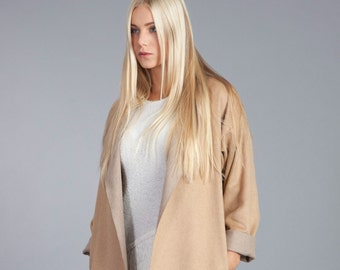 25 % off! Minimalist Wool Coat / Handmade Jacket / Beige Cardigan / Wool Coat / Beige Wool Coat / Long Wool Jacket / Oversize Wool Coat
